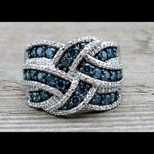 Jewelry - Beautiful silver dark blue topaz cocktail ring 8